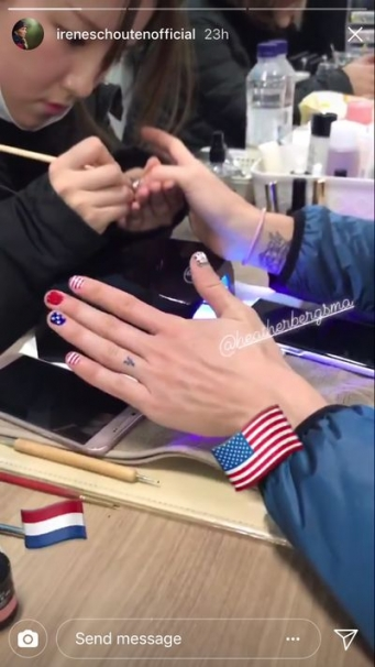 An Instagram Story of an Olympian getting her nails done.