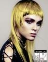Yellow Chopped Layers on long hair